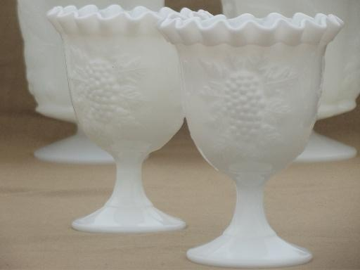 vintage grapes milk glass lot, pitchers, vases in different grape patterns