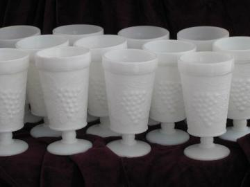 vintage grapes pattern milk glass footed tumblers, set of 12 glasses