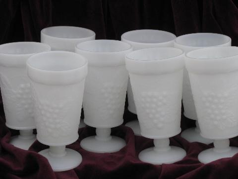 vintage grapes pattern milk glass footed tumblers, set of 8 glasses