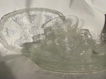 vintage grapes pattern pressed glass snack sets, crystal clear