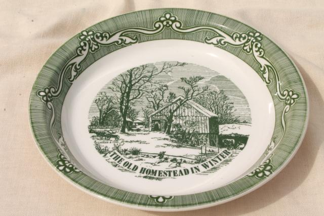 Vintage Green Currier Amp Ives Pie Plate Pan W Old
