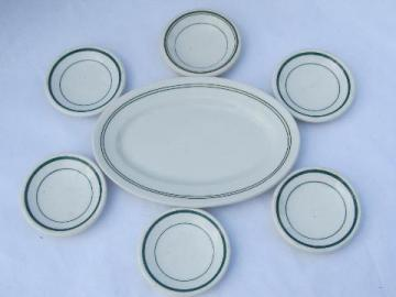 vintage green band restaurant china, ironstone butter plate & pats