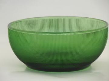 vintage green depression glass bowl, prismatic fine rib  pattern