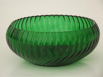vintage green depression glass bowl, swirl ribbed pattern glass bulb flower bowl