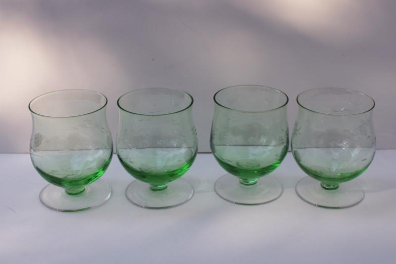 vintage green depression glass brandy glasses, tulip shape stemware w/ wheel cut floral