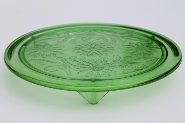Dark Green Glass Cake Stand