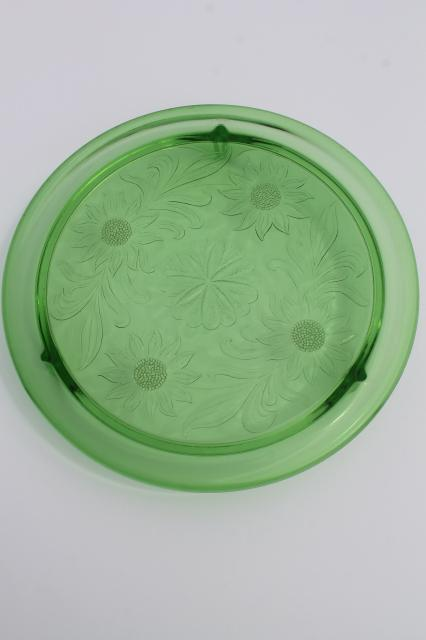 vintage green depression glass cake plate, Jeannette sunflower low plateau cake stand