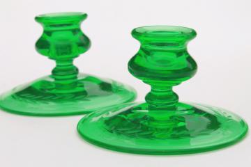 vintage green depression glass candlesticks, candle holders w/ etched laurel leaf pattern