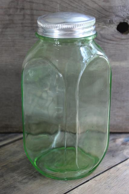 vintage green depression glass canister, quart hoosier jar w/ square shape
