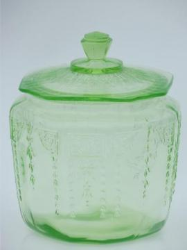 vintage green depression glass cookie or biscuit jar, canister w/ lid