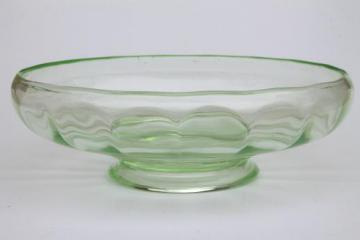 vintage green depression glass footed bowl,       paneled optic colonial panel pattern glass