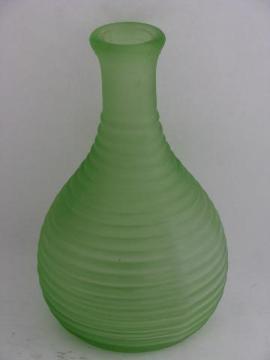 vintage green depression glass, old kitchen glassware fridge bottle, Frigidaire refrigerator