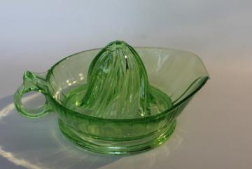 vintage green depression glass orange or grapefruit juicer, large glass reamer