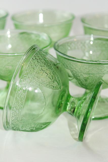 Vintage Green Depression Glass Sherbets Federal Georgian
