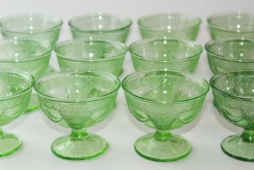vintage green depression glass sherbets, Federal Georgian Lovebirds pattern glasses