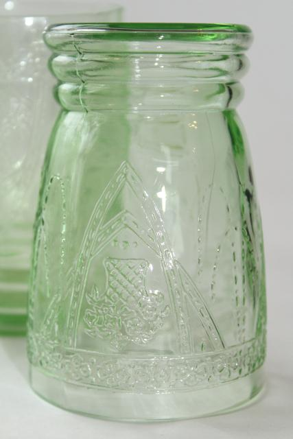 vintage green depression glass tumblers, Federal Georgian Lovebirds pattern glasses