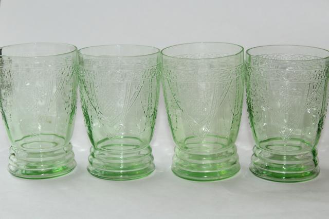 Vintage Green Depression Glass Tumblers Federal Georgian