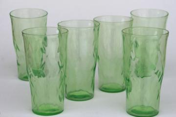 vintage green depression glass tumblers, hex optic honeycomb pattern drinking glasses