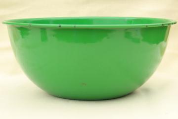 vintage green enamel bowl, large mixing bowl 1950s enamelware kitchenware