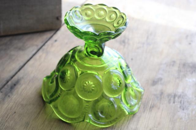 vintage green glass Moon & Stars pattern candy dish or small compote bowl
