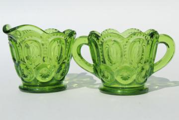 vintage green glass Moon & Stars pattern cream pitcher and sugar bowl set
