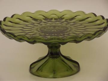 vintage green glass cake stand, pattern glass dessert pedestal plate