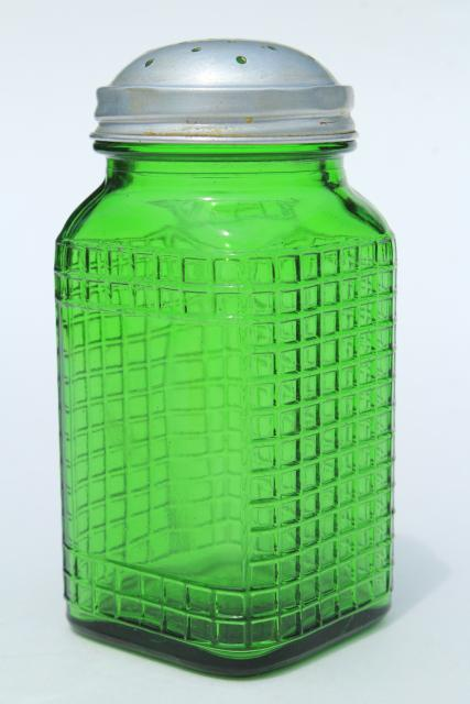 Vintage Green Glass Canister Jar Square Waffle Glass