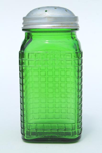 vintage green glass canister jar, square waffle glass hoosier spice set bottle w/ metal lid