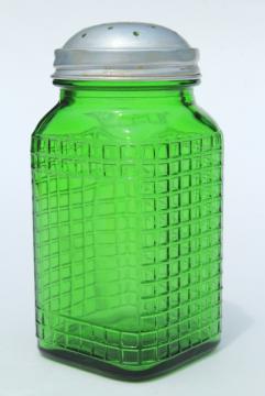 vintage green glass canister jar, square waffle glass hoosier spice set bottle w/ metal lid