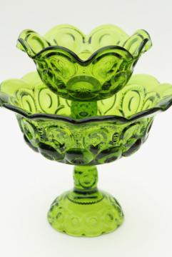 vintage green glass compotes, moon & stars pattern pedestal bowls, large and small