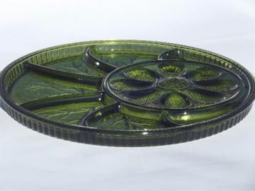 vintage green glass deviled egg plate relish tray, Indiana glass egg plate