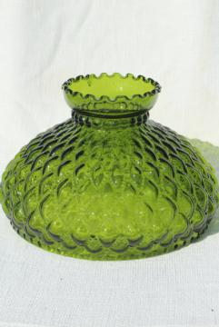 vintage green glass lampshade, large quilted diamond pattern glass shade