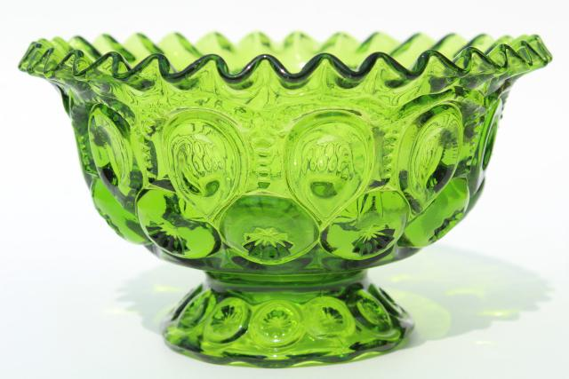 Vintage Green Glass Moon Stars Crimped Ruffle Edge Bowl Footed