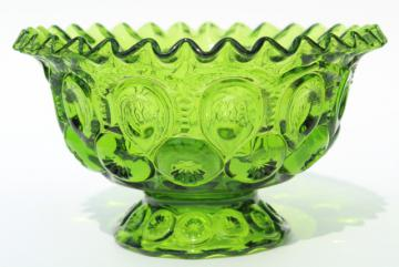 vintage green glass moon & stars crimped ruffle edge bowl, footed flower vase