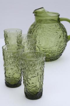 vintage green glass pitcher & glasses set, Lido / Milano Anchor Hocking