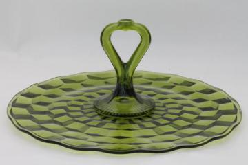 vintage green glass sandwich plate, Whitehall Indiana cube pattern serving tray with center handle