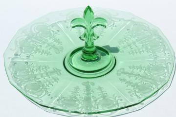vintage green glass serving tray, sandwich or cake plate w/ center handle, Fostoria Vernon etch