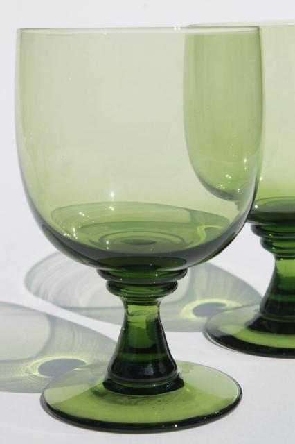 vintage green glass water goblets or large wine glasses moss olive avocado green - Water Goblets