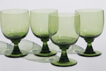 vintage green glass water goblets or large wine glasses, moss olive avocado green