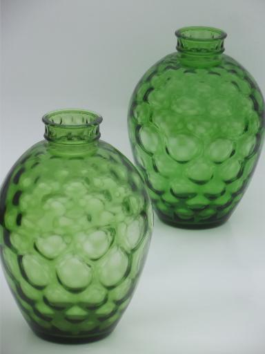 Vintage Green Glass Wine Jars Mid Century Retro Glass Bottle Urn Vases