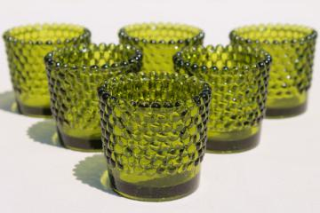 vintage green hobnail glass tea light candle cups, votive holders for individual table settings