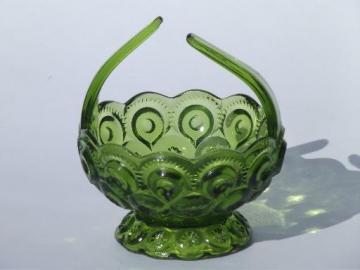 vintage green moon and stars pattern pressed glass basket, brides flower basket