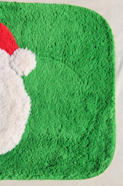 vintage green & red rug w/ Santa Claus - soft pile bath mat, or holiday welcome door mat