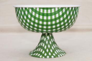 vintage green & white checked gingham tin candy dish or flower bowl, litho print metal