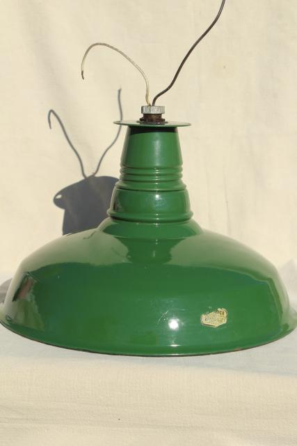vintage green & white enamel ware gas station light, Goodrich industrial lamp shade
