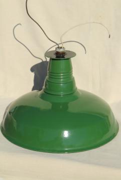 vintage green & white enamel ware gas station light, Goodrich industrial lamp shade