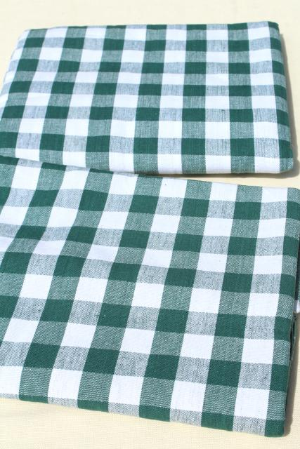 vintage green & white gingham checked cotton tablecloths, french country bistro kitchen