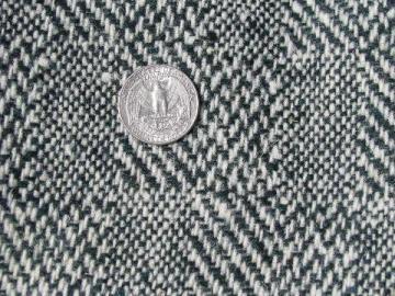 vintage green & white heavy wool herringbone tweed fabric, coat or blanket weight