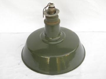 vintage green & white porcelain enamel gas station or barn light