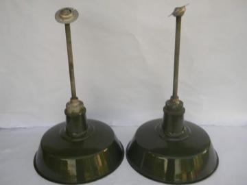 vintage green&white industrial enamel barn or stable pendant lighting